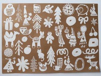 A4サイズ 包装紙/ラッピングペーパー 『クリスマス』30枚入りの画像