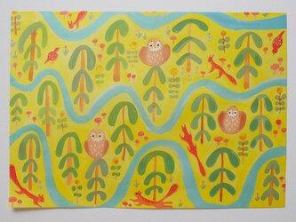 A4サイズ 包装紙/ラッピングペーパー 『黄色い森』30枚入りの画像