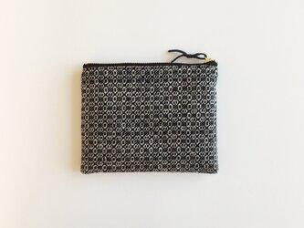 手織りウールミニポーチ(Accessory case 14cm Black Flower)の画像