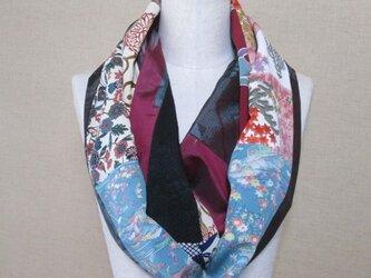 着物リメイク 3重巻き出来る 縮緬×大島紬×銘仙×手織紬からロングスヌードの画像
