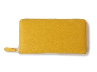 【イタリアンレザー】ラウンドファスナー 長財布 シュリンクレザー 収納豊富 レモンイエローの画像