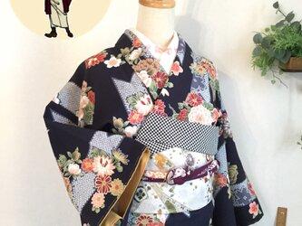 袷 小紋 バチ衿 150cm~レデースSの画像