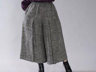 【wafu】厚地 起毛 リネンパンツ 柔らか 暖かい 袴(はかま) ウエストゴム / 黒×生成り b002b-bki3の画像