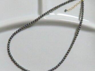 「あこやベビーパール」ネックレス ブラック染め MN1019-003の画像