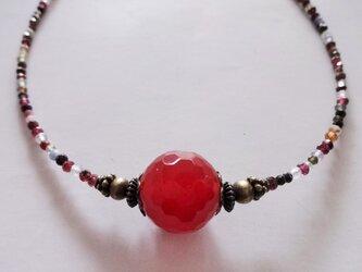 キャンディみたいな赤メノウの大玉ネックレス Y-1115の画像