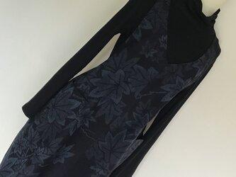 1026   着物リメイク M寸法のコクーンジャンバースカート   結城紬の画像