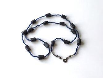 ブラックトルマリンのネックレス / 天然石, ガラスビーズの画像
