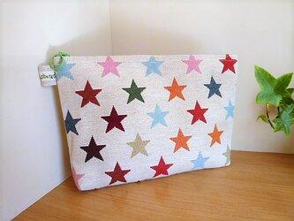 ゴブラン織りカラフル星柄のマチ付きビッグポーチの画像