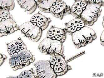 ゆるかわ猫ビーズ 11mm 銀古美 20個【猫パーツ ピアス イヤリング素材】の画像