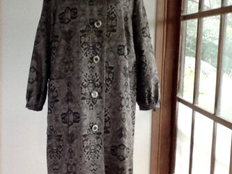 茶色 大島紬 ロングコートの画像