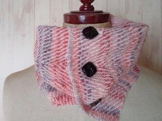 3パターンできる手紡ぎ糸ネックウォーマー ホームスパン ピンク 931の画像