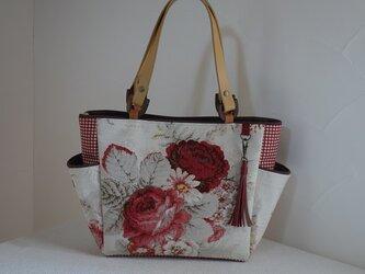1様ご依頼品:サイドポケットバッグS(輸入生地アメリカ:ウェバリーNorfolk Rose)の画像
