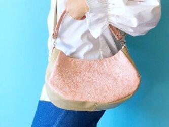 ルナ 2WAY ハンドバッグ/ショルダーバッグ 本革 花柄 ピンク & ベージュの画像