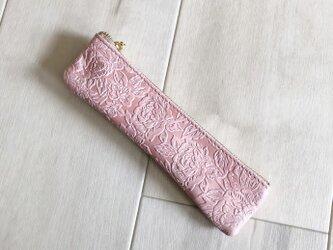ローズ&ピンク スリム ペンケース 本革 型押し 花柄 ローズ ピンクの画像