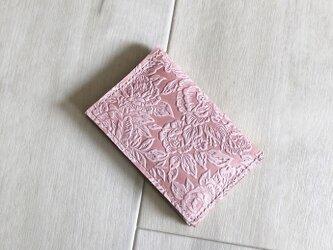 ローズ&ピンク カードケース 本革 レザー 花柄 ローズ ピンク 名刺入れ パスケースの画像