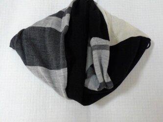 昭和レトロ ニットを繋ぎあわせて作った スヌード くろの画像