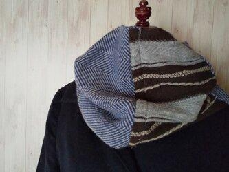 手織りスヌード ブルー の画像