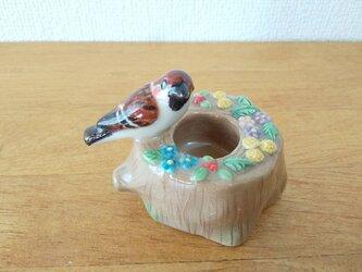印鑑スタンド 雀とたんぽぽ(陶器)の画像