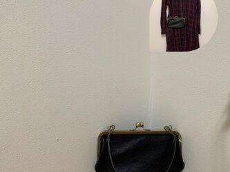 上質牛革 ポッケ付きがま口財布◆22cm 黒の画像
