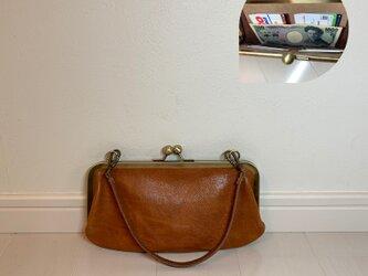 上質牛革 ポッケ付きがま口財布◆22cm ブラウンの画像