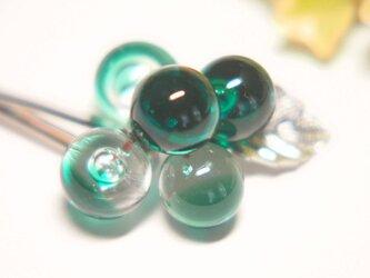 つぶつぶヘアピン 緑の画像