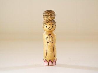 [conocokeshi]仏像こけし*祈り*蓮華*金色[134]の画像