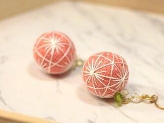 桜餅手毬 薄桜 クリアビーズピアス 【和装・卒業式・成人式】の画像