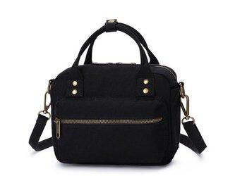 【0016黒】オシャレ ボストンバッグ しっかり キャンバス 帆布 可愛いショルダーバッグ ファスナー付きトートバッグの画像
