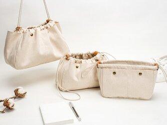【0001-L】軽量 上質インナーバッグ Lサイズ 自立する 帆布バッグ キャンバス 革 レザー 巾着 ポーチ トートバッグの画像