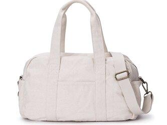 【0013生成り】2way 旅行バッグ ファスナー付きトートバッグ  ショルダーバッグ 大容量 男女兼用の画像