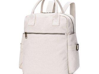 【0033生成り】オシャレ 2Way 帆布  キャンバスファスナー付きトートバッグ リュック 大容量 男女兼用 旅行バッグの画像