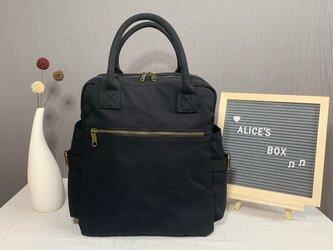 【0033黒】オシャレ 2Way 帆布  キャンバスファスナー付きトートバッグ リュック 大容量 男女兼用 旅行バッグの画像