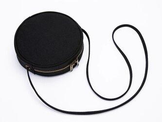 【0003黒】 まるポシェット 大人可愛いショルダーバッグ 丸型  キャンバス  帆布  ファスナー付きバッグの画像