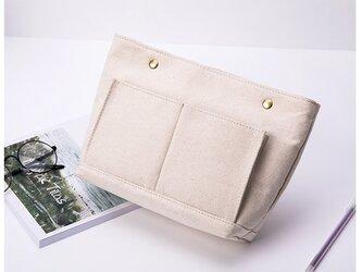 【0030生成り】上質インナーバッグ 持ち手付き しっかり 帆布 キャンバス 巾着 化粧ポーチ トートバッグの画像