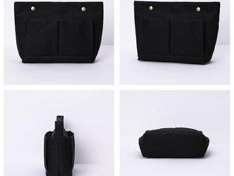 【0030黒】上質インナーバッグ 持ち手付き しっかり 帆布 キャンバス 巾着 化粧ポーチ トートバッグの画像