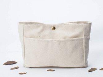 【0026生成り】インナーバッグ しっかり 帆布 キャンバス 巾着 ポーチ トートバッグの画像