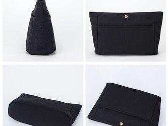 【0026黒】インナーバッグ しっかり 帆布 キャンバス 巾着 ポーチ トートバッグの画像