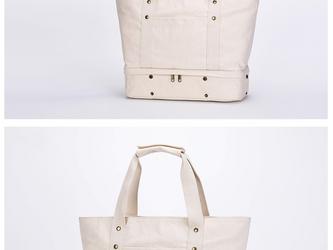 【0034】旅行バッグ しっかり 帆布 ファスナー付きキャンバストートバッグ 【靴収納つき】大容量 男女兼用の画像