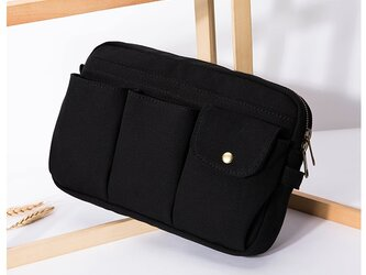 【0015黒】上質インナーバッグ しっかり 帆布 キャンバス 巾着 ポーチ トートバッグ 化粧品の画像