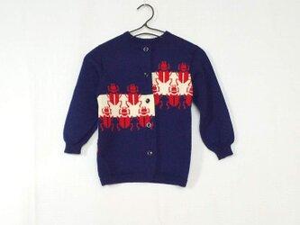 昭和レトロ 機会編み 子供用カーディガン カブトムシ あおの画像