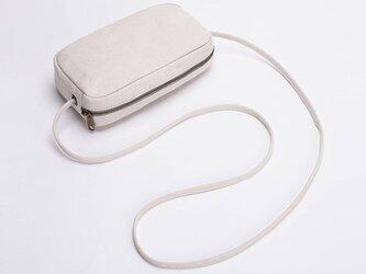 【0005生成り】小ぶりで可愛いミニショルダーバッグ  キャンバス 帆布  ファスナー付きバッグの画像