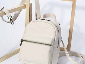 【0021生成り】4Way  しっかり キャンバス/帆布/ 多機能 可愛いミニリュック、ボディバッグ、ショルダーバッグの画像