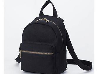 【0021黒】4Way  しっかり キャンバス/帆布/ 多機能 可愛いミニリュック、ボディバッグ、ショルダーバッグの画像