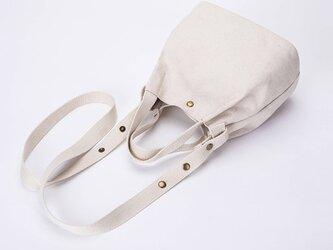 【セール】3980円→2980円【0007生成り】 2Way  キャンバス 帆布  可愛い巾着 ショルダー バッグ ミニバッグの画像