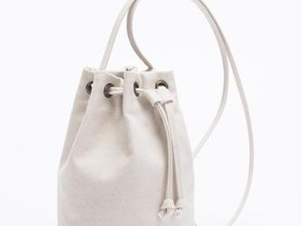 【0004生成り】 キャンバス 帆布バッグ 可愛いショルダーバッグ ポーチ 巾着ショルダーの画像