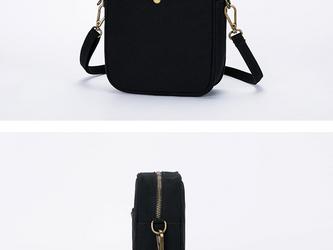 【0008黒】キャンバスバッグ 帆布  かわいいショルダーバッグ シンプルなファスナー付きバッグの画像