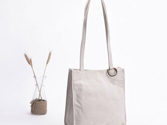 【0012生成り】持ちやすい帆布バッグ  ボックストート しっかり キャンバストートバッグ  オシャレ 大容量 男女兼用 の画像