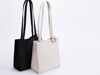 【0012黒】持ちやすい帆布バッグ  ボックストート しっかり キャンバストートバッグ  オシャレ 大容量 男女兼用 の画像