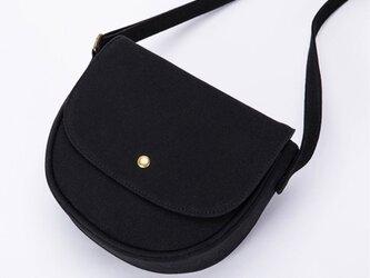【0019黒】キャンバスバッグ 帆布 サドルバッグ かわいいショルダーバッグ ファスナー付きバッグの画像