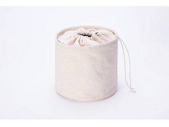 【0025】大人可愛い巾着バッグ 化粧ポーチ 収納 帆布 キャンバス かわいい丸型 の画像